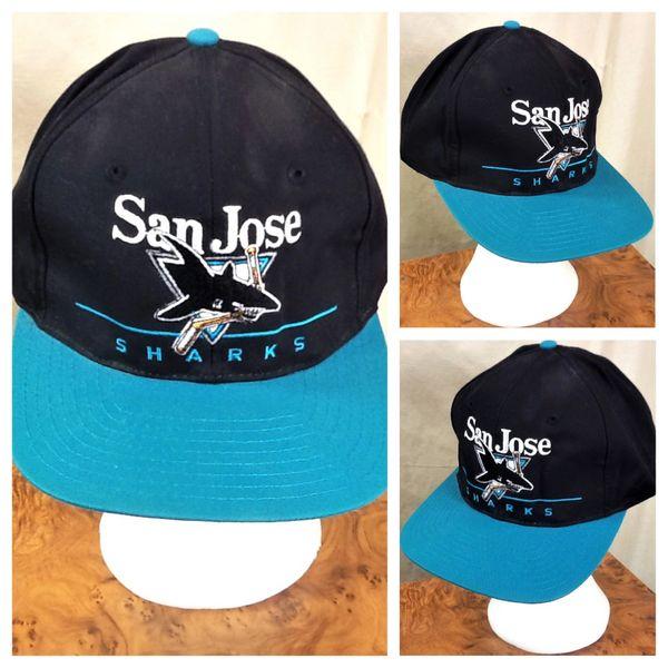 Vintage 90's San Jose Sharks NHL Hockey Club Retro Graphic Snap Back Hat