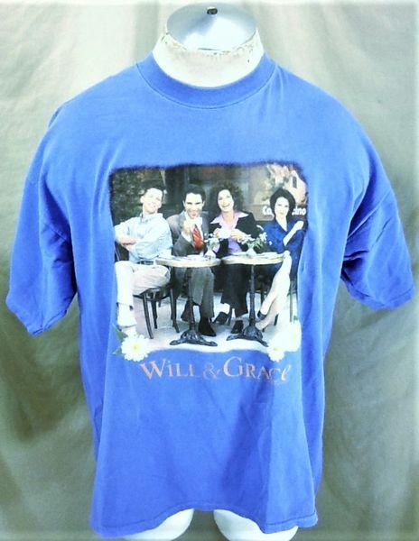 "Vintage 1999 NBC Experience Will & Grace (XL) Retro ""Coffee Shop"" Graphic T-Shirt"