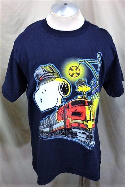 "Vintage 90's Peanuts Snoopy & Woodstock (L/XL) ""Railroad Conductors"" Cartoon T-Shirt"