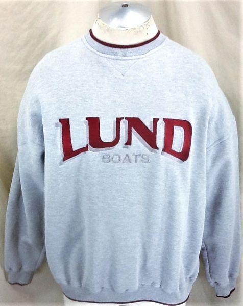 Kudzu Retro Lund Fishing Boats (Large) Crew Neck Graphic Long Sleeve Sweatshirt