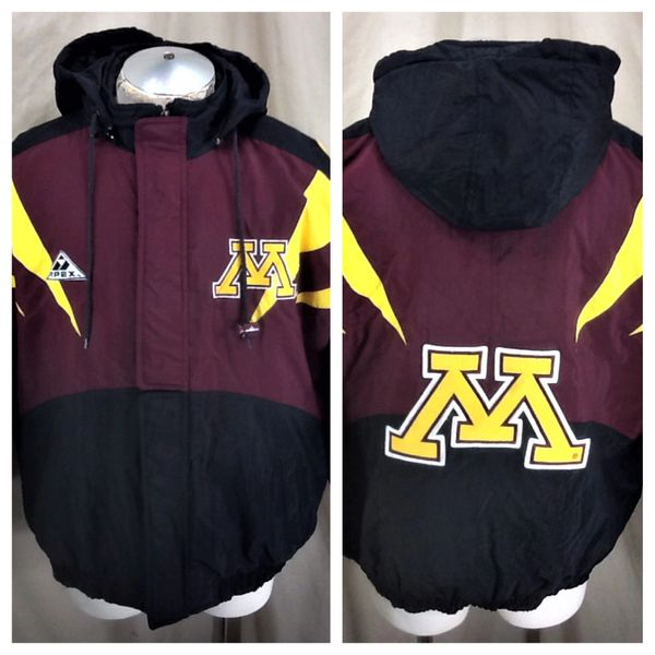 Vintage 90's Apex One Minnesota Gophers (Large) Retro NCAA Zip Up Hooded Puffer Jacket