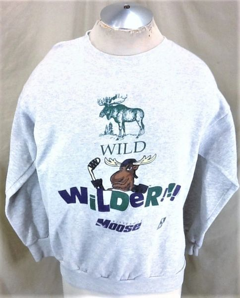 "Vintage 90's Minnesota Moose ""Wild"" (XL) Retro IHL Hockey Graphic Crew Neck Sweatshirt"