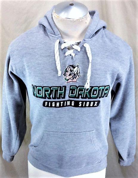 North Dakota Fighting Sioux Hockey (X-Small) Retro NCAA Old Logo Hooded Gray Sweatshirt