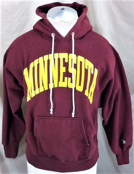 Vintage 90's Champion Minnesota Gophers (Med) Retro Reverse Weave Hooded Sweatshirt