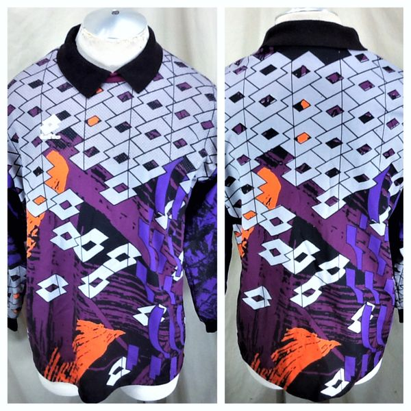 Vintage 90's Lotto Soccer Goal Keeper (Large) Retro All Over Graphic Long Sleeve Futbol Jersey