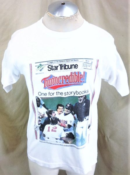 "Vintage 1991 Minnesota Twins ""Twincredible!"" (Med/Large) Retro MLB Baseball Graphic T-Shirt White"