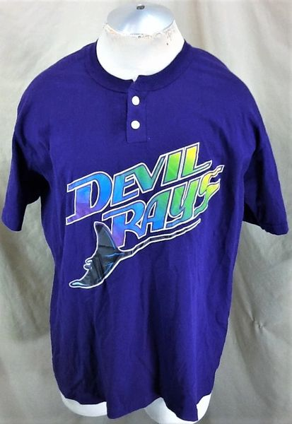 Vintage 90's Tampa Bay Devil Rays Baseball (XL) Retro MLB Classic Logo Graphic T-Shirt Purple