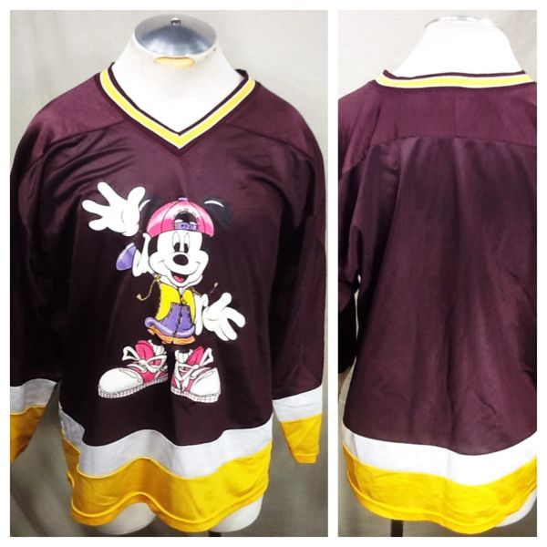 Vintage 90's Mickey Mouse Classic Cartoon (Med) Retro Walt Disney Graphic Hockey Jersey