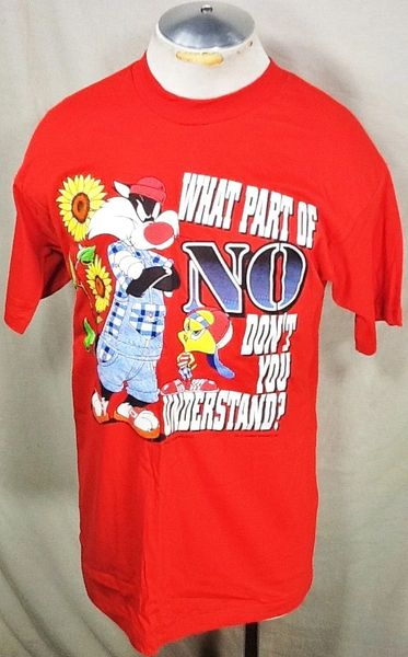 "Vintage 1995 Looney Tunes ""What Part of NO"" (Large) Retro Sylvester & Tweety Graphic Cartoon T-Shirt"