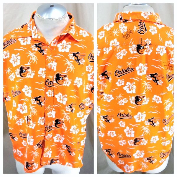 Baltimore Orioles Baseball Club (Med) Retro MLB All Over Graphic Button Up Hawaiian Shirt