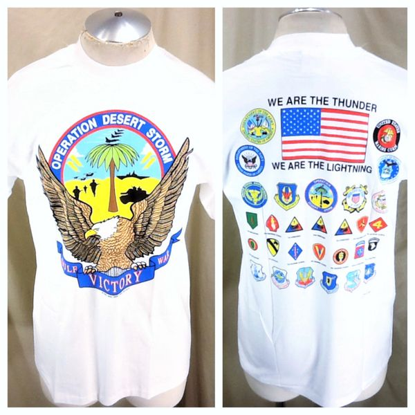 Vintage 1991 Operation Desert Storm (Large) Gul War Victory Graphic T-Shirt