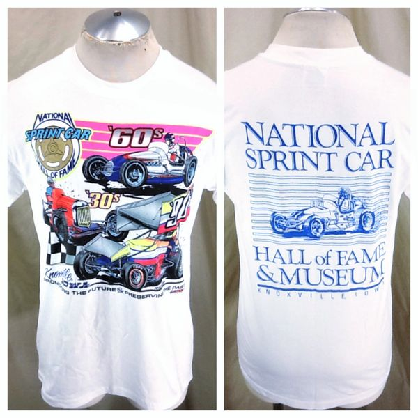 Vintage 90's National Sprint Car Hall of Fame (Med) Retro Dirt Track Racing White T-Shirt