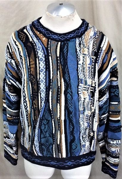 Vintage 90's Croft & Barrow Textured (Large) Retro Coogi Style Graphic Sweater