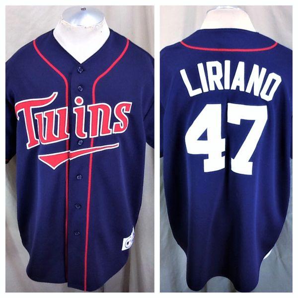 Vintage Majestic Minnesota Twins Francisco Liriano #47 (XL) Retro MLB Baseball Button Up Jersey
