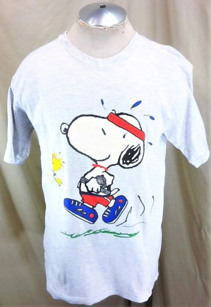 """Vintage 90's Snoopy & Woodstock """"Walk It Out"""" (Large) Peanuts Gang Retro Graphic T-Shirt"""