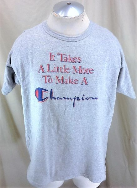 "Vintage Champion ""It Takes A Little More"" (2XL) Retro Rayon Blend Graphic Workout T-Shirt"