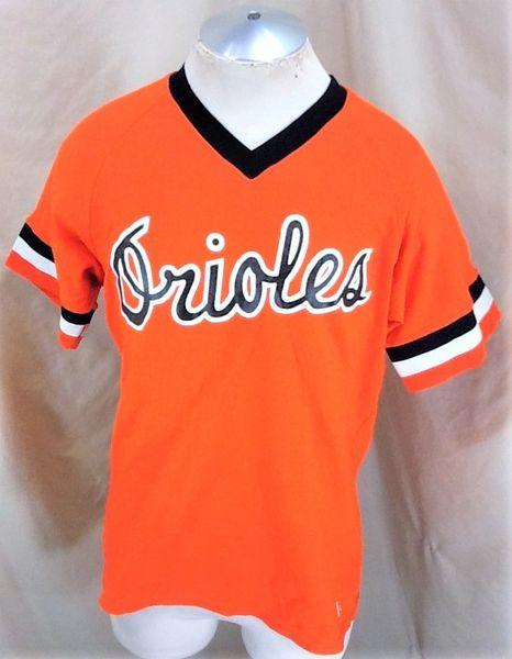 Vintage 80's Sand Knit Baltimore Orioles (Med/Large) Retro MLB Pullover Baseball Jersey Orange