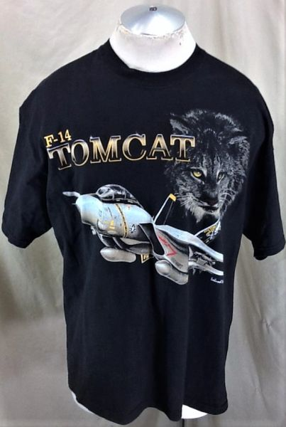 "Vintage United States Air Force F-14 ""Tom Cat"" (XL) Retro Graphic Military T-Shirt"