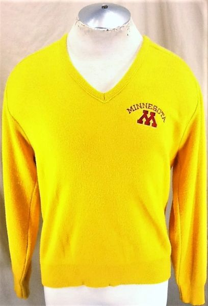 Vintage 80's Champion Minnesota Gophers (Large) Retro NCAA Pullover V-Neck Sweater