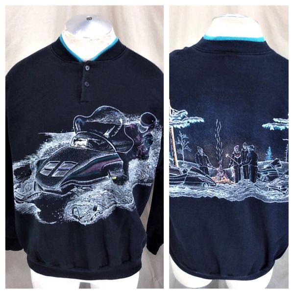 "Vintage 90's Snowmobiling ""Winter Scene"" (Large) Retro Graphic Pullover Sweatshirt"