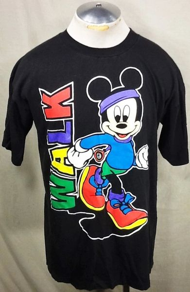 "Vintage 90's Mickey Mouse ""Walk"" (L/XL) Retro Walt Disney Cartoon Black Graphic T-Shirt"