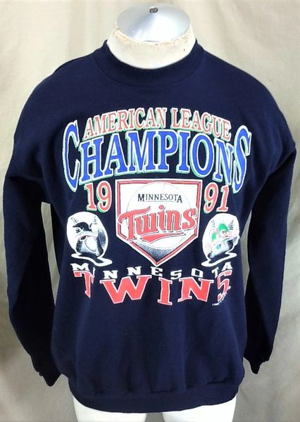 "Vintage 1991 Minnesota Twins ""AL Champions"" (L/XL) Retro MLB Baseball Crew Neck Sweatshirt"