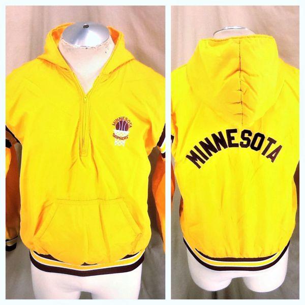 Vintage 90's Minnesota Gophers Basketball (Med) Retro NCAA Pullover Half Zip Hooded Jacket
