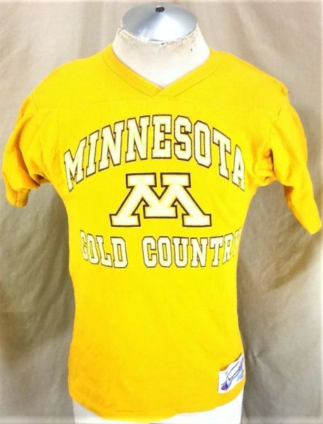 "Vintage 1980's Champion Minnesota Gophers (Small/Med) Retro ""Gold Country"" Graphic Shirt"