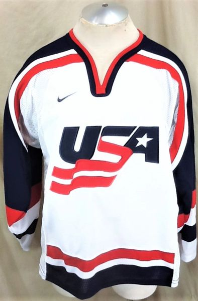 Nike 2002 Authentic Olympics Team USA (Medium) Retro Salt Lake City Knit Hockey Jersey White