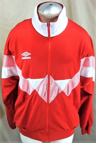 Vintage 90's Umbro Athletic Wear (Large) Retro Workout Gear Zip Up Red Track Jacket