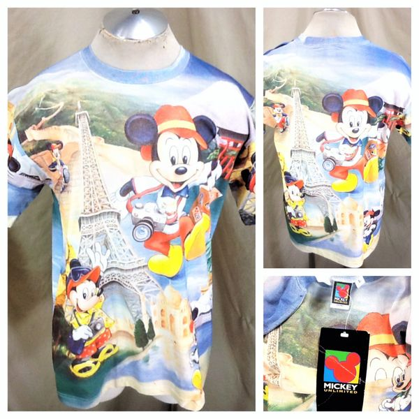 "New! Vintage 90's Disney's Mickey Mouse (Large) ""Tourist Mickey"" All Over Graphic T-Shirt"