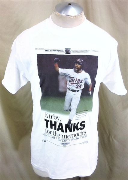 "New! Vintage 1996 Minnesota Twins Kirby Puckett #34 (Med) Retro MLB ""Thanks For The Memories"" T-Shirt"