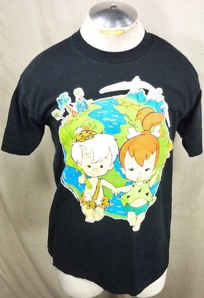 """Vintage 1995 The Flintstones (Large) Retro """"Pebbles & Bam Bam"""" Graphic T-Shirt Black"""