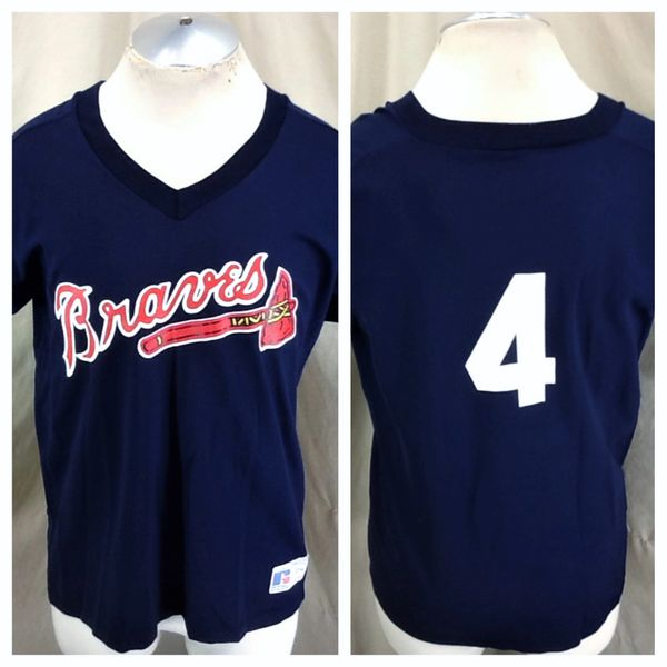 Vintage 90's Atlanta Braves Baseball (Med) Retro MLB Classic Logo Graphic Blue Jersey