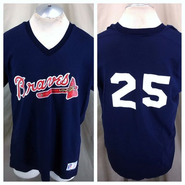 Vintage 90's Atlanta Braves #25 Baseball (XL) Retro MLB Classic Logo Graphic Blue Jersey