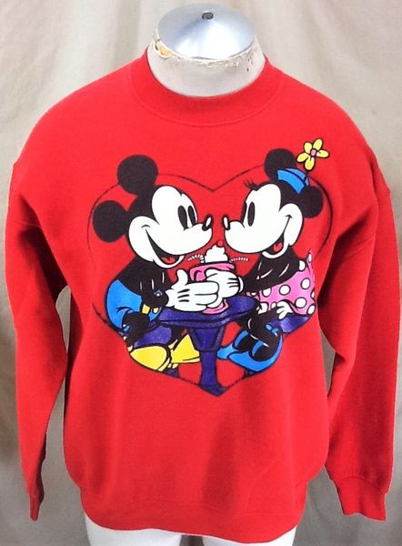"Vintage 90's Walt Disney Mickey & Minnie Mouse ""Malt Shop"" (L/XL) Cartoons Graphic Sweatshirt"