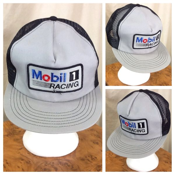 Vintage 90's Mobil 1 Racing Gear Heads Retro Snap Back Trucker Hat Black / Gray