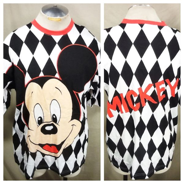"Vintage 90's Mickey Mouse ""Diamond Pattern"" (XL) Retro Walt Disney Graphic T-Shirt"