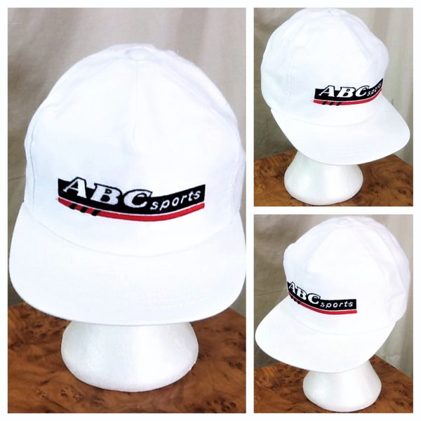 """Vintage 90's ABC Sports """"Wide World of Sports"""" Retro Graphic Snap Back Hat White"""