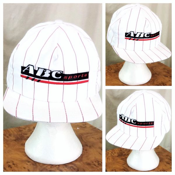"""Vintage 90's ABC Sports """"Wide World of Sports"""" Retro Pin Stripe Graphic Snap Back Hat"""