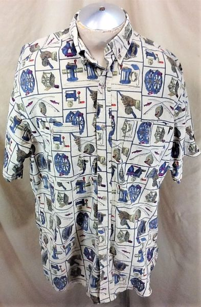 Vintage 90's Woolrich Fly Fishing (Large) All Over Graphic Outdoorsman Button Up Shirt