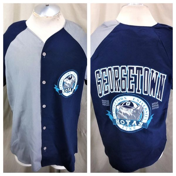Vintage 90's Georgetown University Hoyas (Med) Retro NCAA Button Up Baseball Jersey
