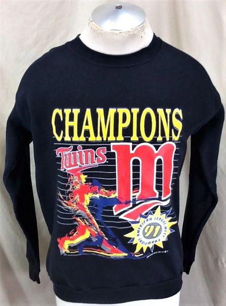 new product 00ee2 e3a7a Vintage 1991 Minnesota Twins AL Champions (Large) Retro Graphic MLB Crew  Neck Sweatshirt