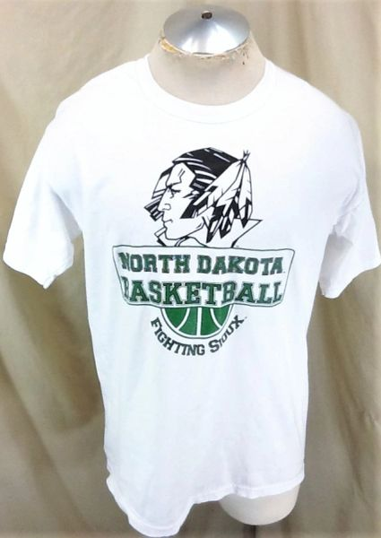 North Dakota Fighting Sioux Basketball (Large) Retro NCAA Classic Old Logo White T-Shirt