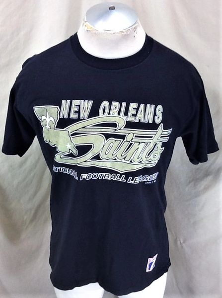 Vintage 90's Logo 7 New Orleans Saints (Med/Large) Retro NFL Football Graphic T-Shirt