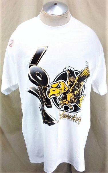 """New! University of Iowa Hawkeyes """"Herky"""" (XL/2XL) Retro NCAA Graphic T-Shirt White"""