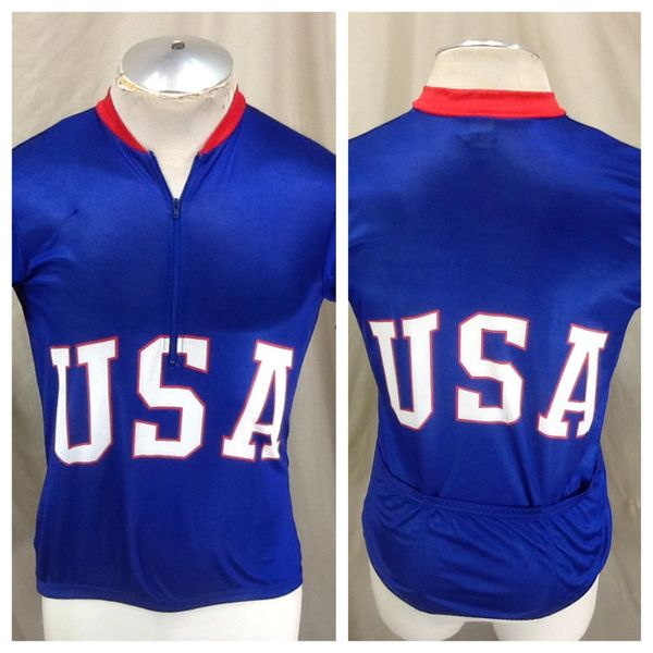 Vintage Canari Cycling Team USA Olympics (Med) Retro 1/2 Zip Up Biking Race Wear Jersey