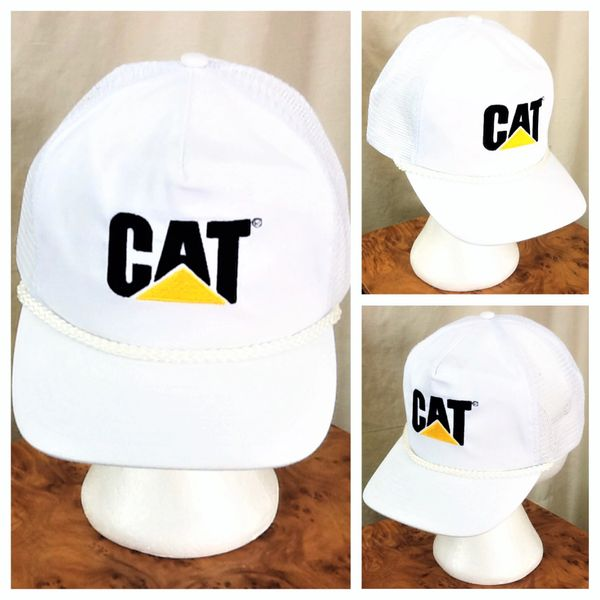 Vintage 90's Caterpillar Heavy Farm Equipment Retro Graphic Snap Back Trucker Hat