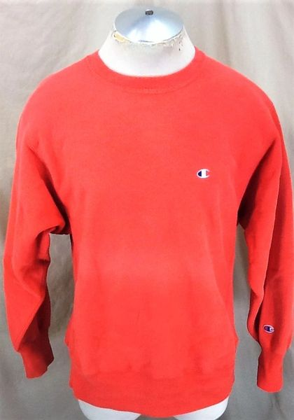 Vintage 90's Champion Reverse Weave (Large) Retro Knit Crew Neck Sweatshirt Red