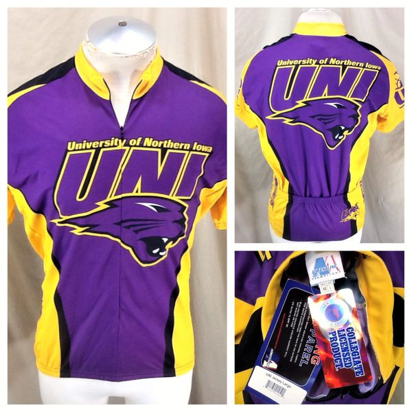 New! Adrenaline Promotions Northern Iowa Panthers (Large) Retro NCAA 3/4 Zip Up Graphic Cycling Jersey
